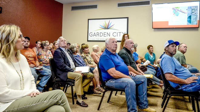 The Garden City Commission chambers was standing room only Wednesday for the Finney County Board of Zoning Appeals meeting. The board was discussing issuing a conditional use permit for Huber Sand Inc., in Pierceville.