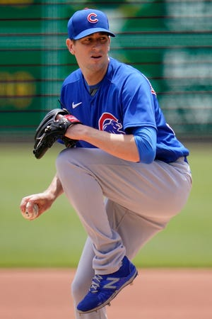 Chicago Cubs starting pitcher Kyle Hendricks delivers during a game against the Pittsburgh Pirates in Pittsburgh on Thursday, May 27, 2021.