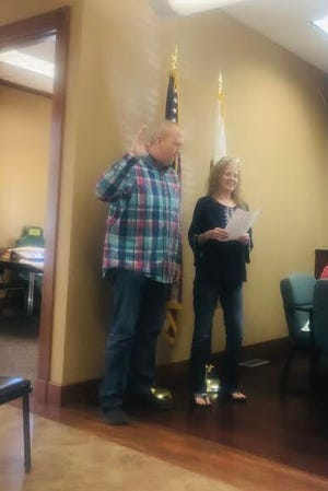 Jim Record is pictured with Avon Village Clerk, Marilyn Aden. Record was appointed as the Avon Police Chief at the Wednesday, June 16 Avon Village Board meeting.