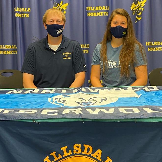 Hillsdale Senior Graduate Hailey Granata and Head Coach Clay Schiman at Granata's signing day.
