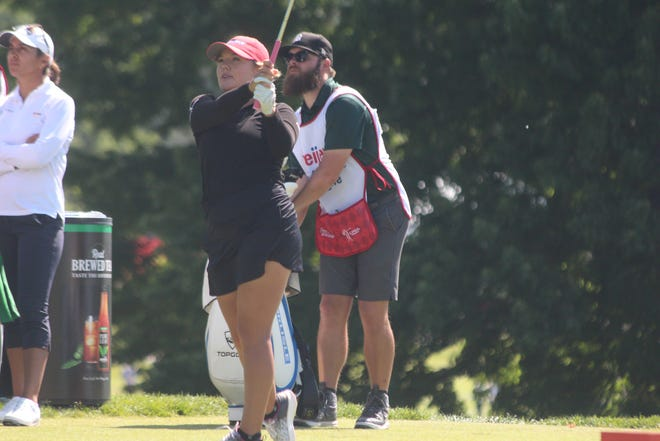 Lauren Stephenson shoots off the tee during the first round of the Meijer LPGA Classic