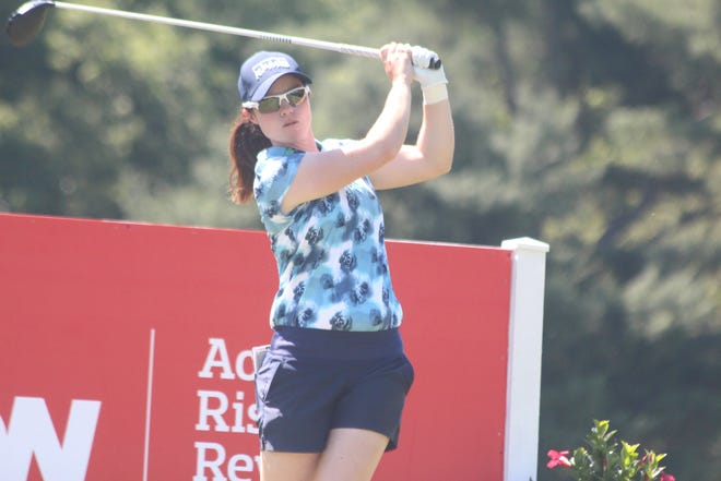 Leona Maguire hits a shot during the first round of the Meijer LPGA Classic for Simply Give