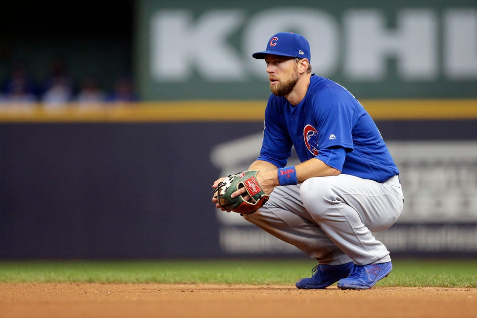 Chicago Cubs' Ben Zobrist during the eighth inning of a baseball game against the Milwaukee Brewers Sunday, Sept. 8, 2019, in Milwaukee. (AP Photo/Aaron Gash)