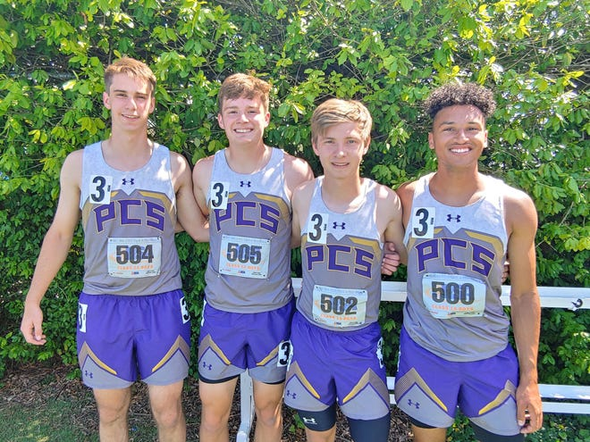 The Peoria Christian 4x100 team of, from left, Adam Pepper, Eli Rieker, Caleb Forseth and Ross Brickner after their fourth-place finish Thursday at the Class 1A track and field state finals in Charleston.