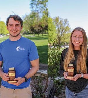 Bethel students Adam Sigwig of Halstead, left, and Alayna Wallace of McPherson were named recipients of the 2021 Thresher Awards for top academic achievement.