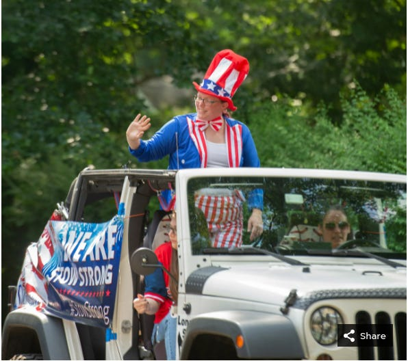 """Due to the COVID-19 pandemic,  Stow's traditional Fourth of July Parade was canceled last year. The city then took a """"mini-parade"""" through the neighborhoods on July 4."""