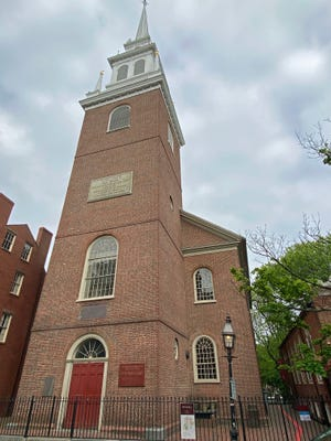 """The Old North Church in the North End is the oldest standing church in Boston. It was made famous by Paul Revere's midnight ride and """"One if by land, two if by sea."""""""
