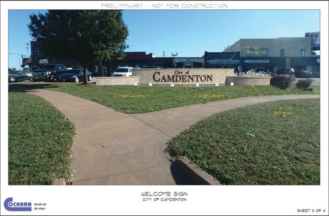 A conceptual design for the new monument in the town square in Camdenton.