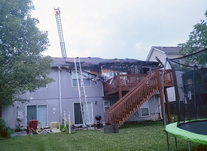 Damage from a fire can be seen at an apartment building Thursday morning on 158th Court in Basehor. the fire was reported at 4:16 a.m. at a duplex apartment.