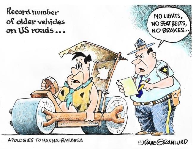 Dave Granlund cartoon on old vehicles