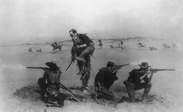 This depiction shows The Battle of the Little Bighorn created by artist Frederic Remington in 1907.