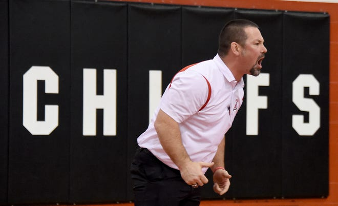 Jake Shulaw coaches New Boston Huron's wrestling team during a match in 2017. Shulaw is replacing Marty Salazar as the school's athletic director.
