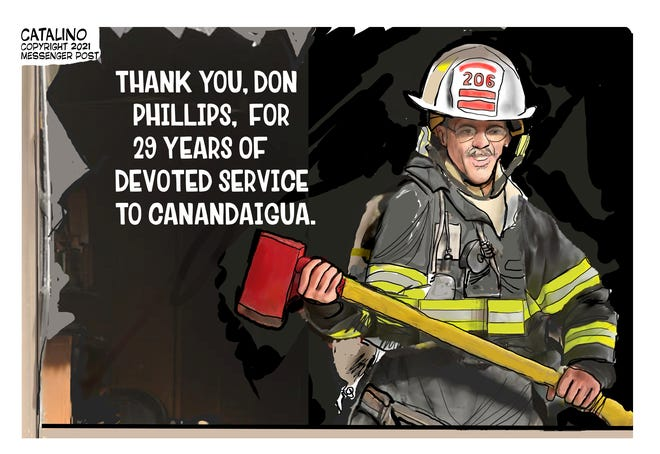 Local cartoonist Ken Catalino's take on the retirement of Canandaigua Fire Capt. Don Phillips.