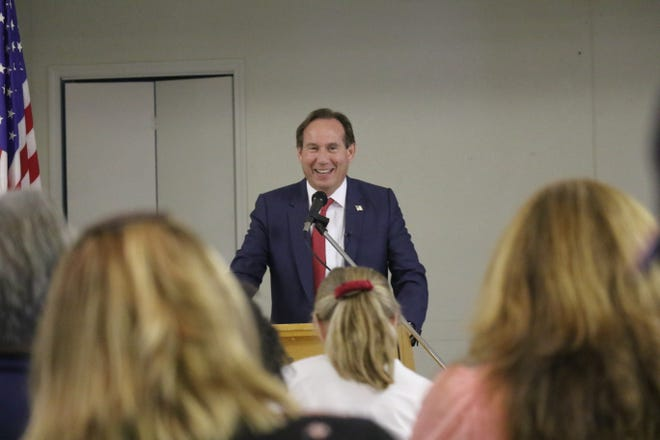 California Attorney General candidate Eric Early spoke at a meet and greet at the Mount Shasta Community Building on Thursday afternoon, June 17, 2021.