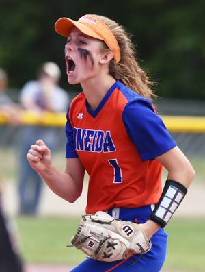 Oneida's Kaylin Curro, shown in 2019, was named the Tri-Valley League's softball player of the year for the 2021 season.