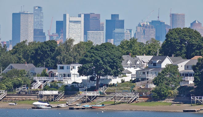 The Germantown neighborhood of Quincy in the foreground with the Boston skyline in the background on Thursday, June 17, 2021. Greg Derr/The Patriot Ledger