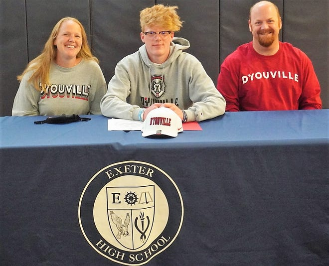 Exeter High School senior Bryce Sturtevant, center, will play men's lacrosse next year at D'Youville College, a Division II program in Buffalo, New York. The Stratham resident, who plans to major in Integrated Health Sciences, is seated with his mother, Jessica; and his father, Matt.