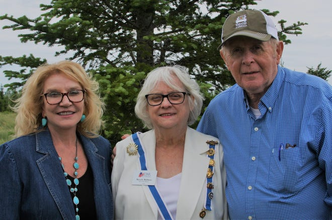 From left to right, Karen Worcester, executive director, Wreaths Across America; Beverly Robbins, Maine State Regent DAR; and Morrill Worcester, founder, Wreaths Across America.