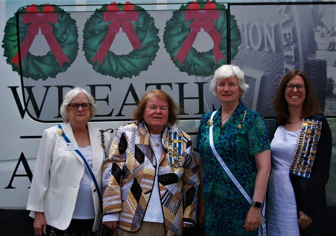 From left to right are Beverly Robbins, State Regent; Shirley Peverly, Old York Chapter; Liz Hotchkiss, Honorary State Regent and Elizabeth Calhoun, Secretary Regent.