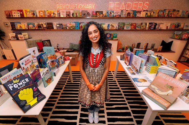 """Pranati """"Pranoo"""" Kumar Skomra in Rohi's Readery, her children's bookstore in CityPlace aimed at promoting literacy, diversity and inclusion, Thursday, June 17, 2021."""