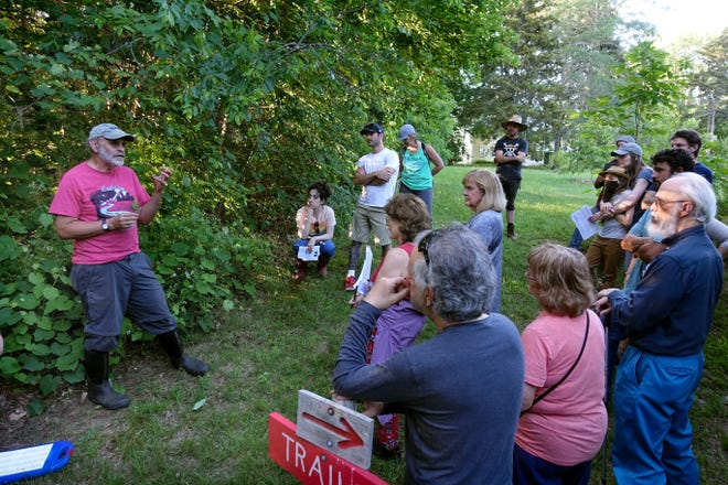 """Russ Cohen, author of """"Wild Plants I Have Known ... and Eaten,"""" gives an outdoor talk about foraging at Mowry Conservation Area in Smithfield."""