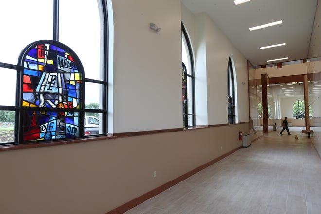 Saints Peter and Paul Mausoleum at St. Ann Cemetery in Cranston is being readied for its dedication this weekend by Bishop Thomas Tobin. Stained-glass windows located throughout the building and also from Our Lady of Mount Carmel Church, will reflect the patron saints of many parishes in the diocese.