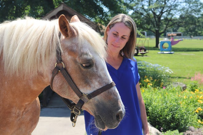 The new executive director of Pegasus Farm, Shelley Sprang, stands with Spanky, a 25-year old haflinger horse, on June 17.