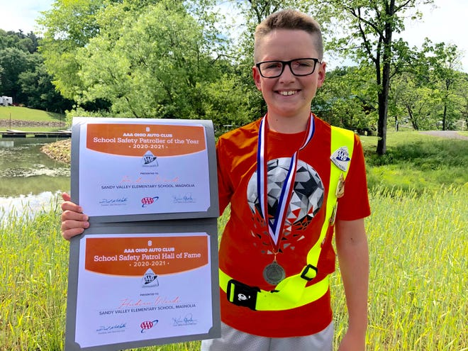 Sandy Valley's Hudson Woods is Patroller of the Year for the the AAA Ohio Auto Club Safety Patrol Program.