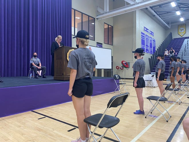 Cadets from Buckeye Girls State's 2021 patrol class take their oath of office during their graduation ceremony on Thursday, June 17, 2021.