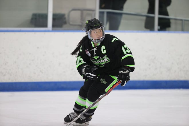 Rockford's Molly Henderson skates for her Chicago Mission hockey club team during the last season. Henderson is attempting to make one of the USA Hockey teams.