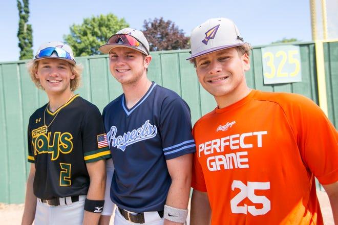 Hononegah seniors, from left, Gabe Roessler, Braden Sayles and Noah Goddard are all four-year starters on the state-bound baseball team.