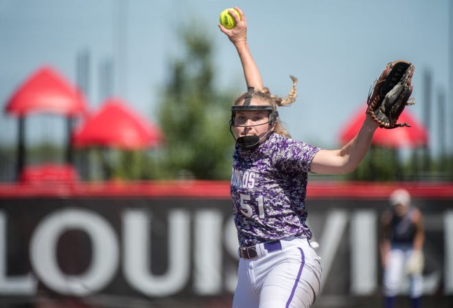 Orangeville's Tori Plowman throws against Illini Bluffs in their Class 1A softball state semifinal Wednesday, June 16, 2021 at the Louisville Slugger Sports Complex in Peoria. Plowman allowed five hits and three earned runs in seven innings in the 6-3 loss.