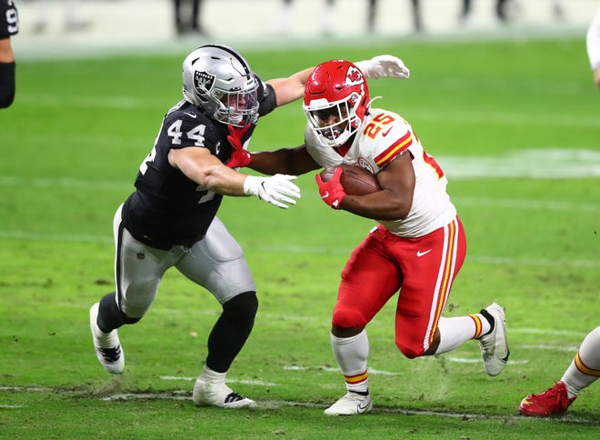 The Kansas City Chiefs are exploring ways to get second-year running back Clyde Edwards-Helaire (25) more involved in the passing game.