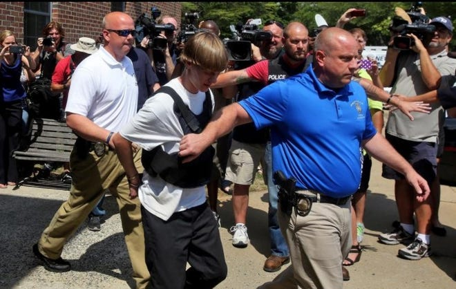 Dylann Roof is seen in Shelby the day after he gunned down nine church members.