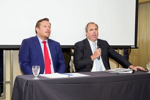 State Rep. James Buchanan and State Sen. Joe Gruters, seen here in June, 2019, when they last appeared at the South County Tiger Bay Club, will return to the organization Friday, when the provide an update on the 2021 legislative session.