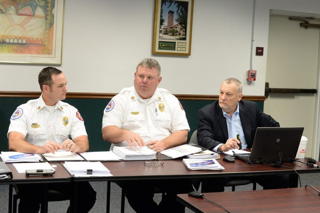 From left: Venice Deputy Chief Frank Giddens, Fire Chief Shawn Carvey and consultant Bob Holdsworth, president of the Holdsworth Group, discuss the plan for the fire department to take operation of ambulance service, at a January, 2019 workshop. Giddens is anticipated to succeed Carvey as fire chief, effective Sept. 1, 2021.