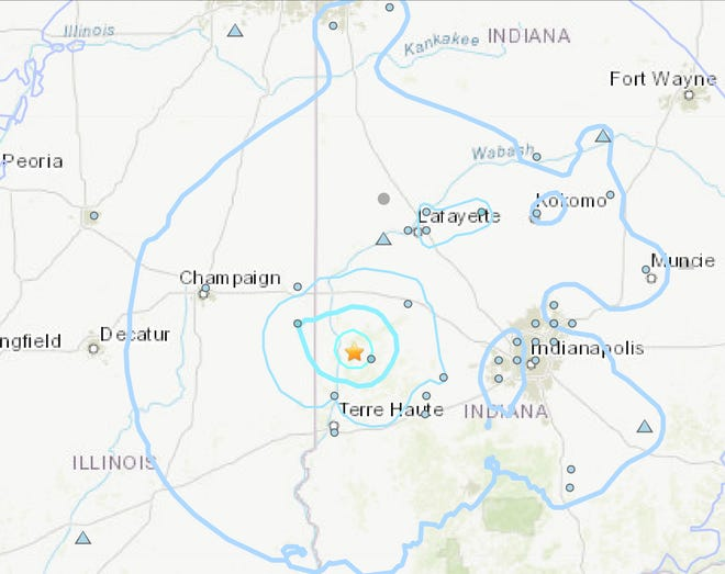 A 3.8 magnitude earthquake was recorded a little after 2 p.m. Thursday in rural Indiana north of Terre Haute. As seen here in this shake map from the United States Geological Survey, the effects could be felt more than 100 miles west in central Illinois.