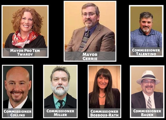 The current Sault Ste. Marie City Commission. On the top from left to right: Mayor Pro Tem Kathy Twardy, Mayor Don Gerrie, Commissioner Tim Talentino. On the bottom from left to right: Commissioner Greg Collins, Commissioner Shane Miller, Commissioner Jodi Bosbous-Rath and Commissioner Ray Bauer.