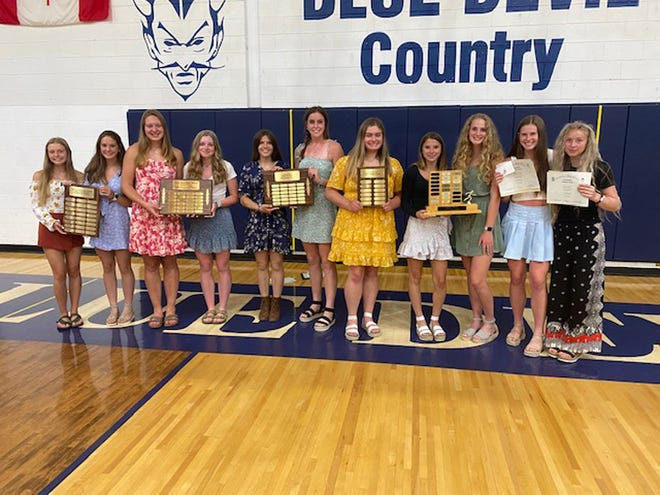 Sault High held its track and field awards night. Girls track and field award winners include, from left: Cassie Gallagher and Isabella DeWildt- Most Promising Newcomer; Joanne Arbic and Abby Walther-Most Improved; Kara Mosher and Claire Erickson- Wallis Determination Award; Emily McLean- Most Valuable Field; Jayla Jorgensen and Haleigh Knowles-Most Valuable Track; Mackenzie Bell and Fairyn Novak-Coaches Award.
