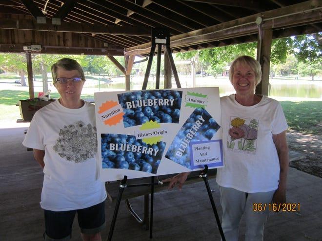 Joline Oswald and Wanda Kieft recently gave the Kewanee Garden Club a presentation on growing blueberries.