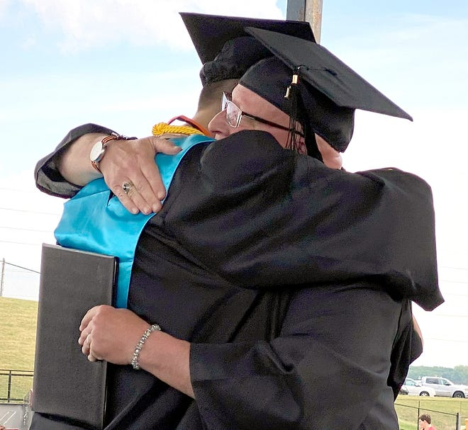 Scott Swihart was able to hand his son Grayson his diploma this year. It was a sentimental occasion, Scott said.