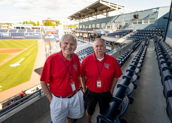 Ambassadors Pete Rojcewicz and Kevin Hartigan at Polar Park on Thursday, June 17, 2021.