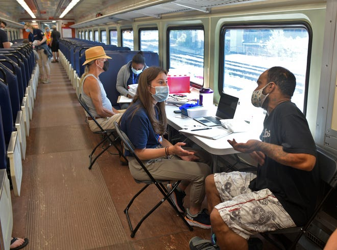 An MBTA train car at Union Station doubled as a vaccination clinic last week in Worcester.