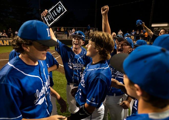 Leominster celebrates its 8-0 victory over Shrewsbury to take the CMADA Division 1 baseball title at Marlboro High.