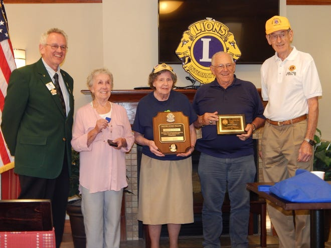 Local Lions received awards during the club's family dinner at Comfort Suites. Pictured are, left to right, District Governor Elect Lee Cuba, President's Appreciation Award winner Judy Walters, Melvin Jones Fellowship Award winner Frances Drabing, Lion of the Year Dr. Joe Ellis and President Bill Willis.