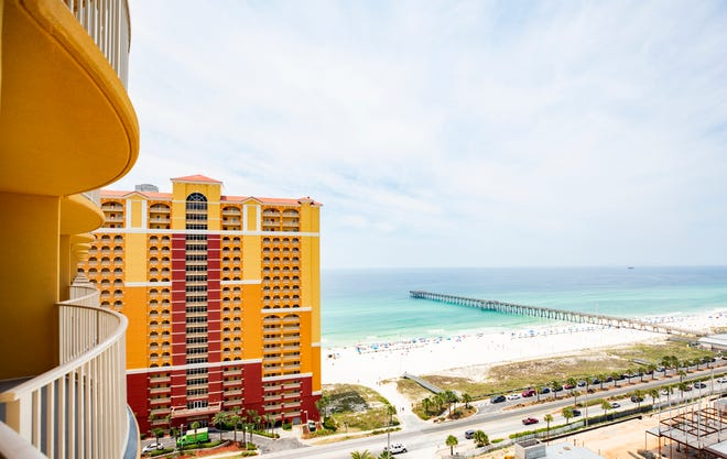 The Calypso III condominiums have a unique look to them and a different view from each of the three towers. From the Calypso III, the view aims toward the City Pier and Pier Park.