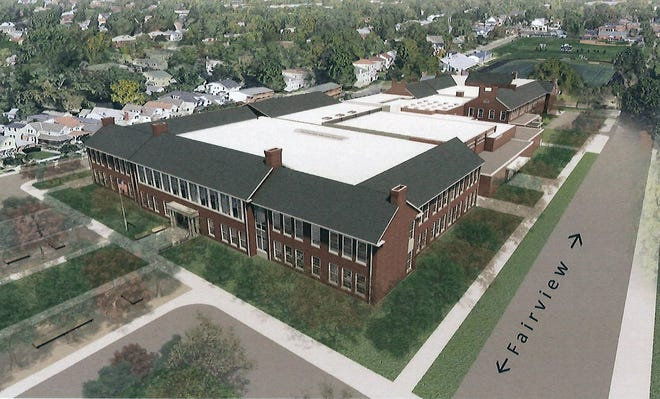 This rendering shows how Grandview Heights Schools' grades-4-12 campus would appear after the district's facilities project is completed and a proposed site plan for the campus is implemented. The joint plan submitted by the schools and the city of Grandview Heights would open Fairview Avenue from Third to First avenues for southbound traffic and from First to about the midblock point for northbound traffic. The city's planning commission is expected to hold a final review and vote on the plan during its August meeting.