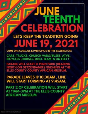 A flyer promoting Waxahachie's community Juneteenth parade to be held on Saturday morning starting at Lee Penn Park. The Ellis County African American Museum and Library will host festivities starting at 11 a.m.