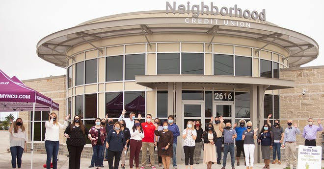 Neighborhood Credit Union holds a grand opening of its new branch location in Anna in July 2020. A branch building with similar architecture was approved by the Waxahachie Planning and Zoning Commission on Tuesday night.