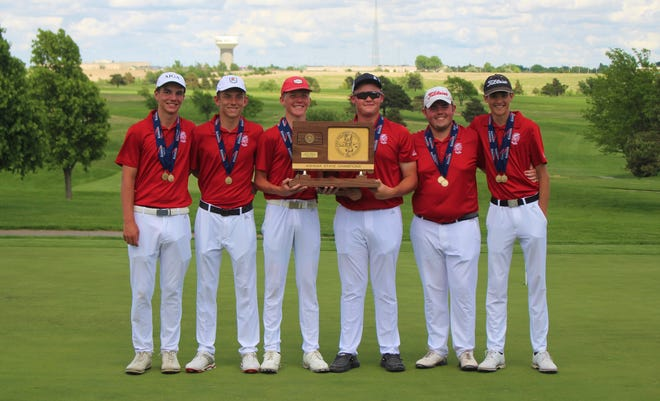 The Wellington boys golf team hoisting the KSHSAA 4A state title in Dodge City (left to right: Deitrek Gill, Lakin Smith, Blake Saffell, Jace Lawrence, Brett Wyckoff and Payton Linked
